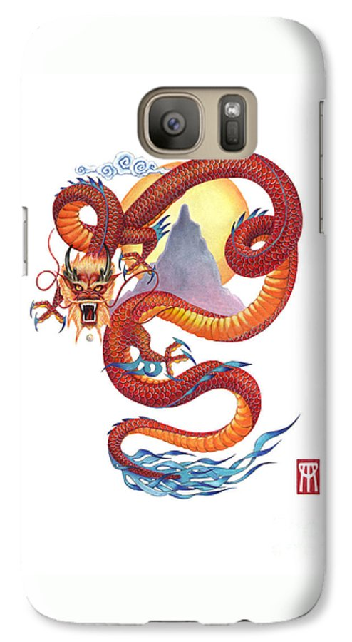 Dragon Galaxy S7 Case featuring the painting Chinese Red Dragon by Melissa A Benson