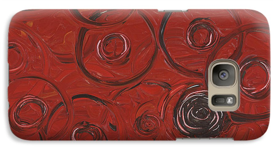 Red Galaxy S7 Case featuring the painting Choices In Red by Nadine Rippelmeyer
