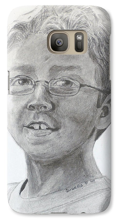 Chris Galaxy S7 Case featuring the drawing Chris Dovick by Quwatha Valentine