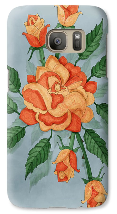 Floral Galaxy S7 Case featuring the painting Christ And The Disciples Roses by Anne Norskog