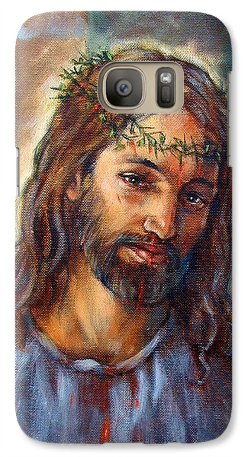 Christ Galaxy S7 Case featuring the painting Christ With Thorns by John Lautermilch