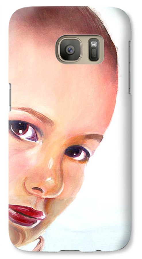 Portrait Galaxy S7 Case featuring the painting Christine by Fiona Jack