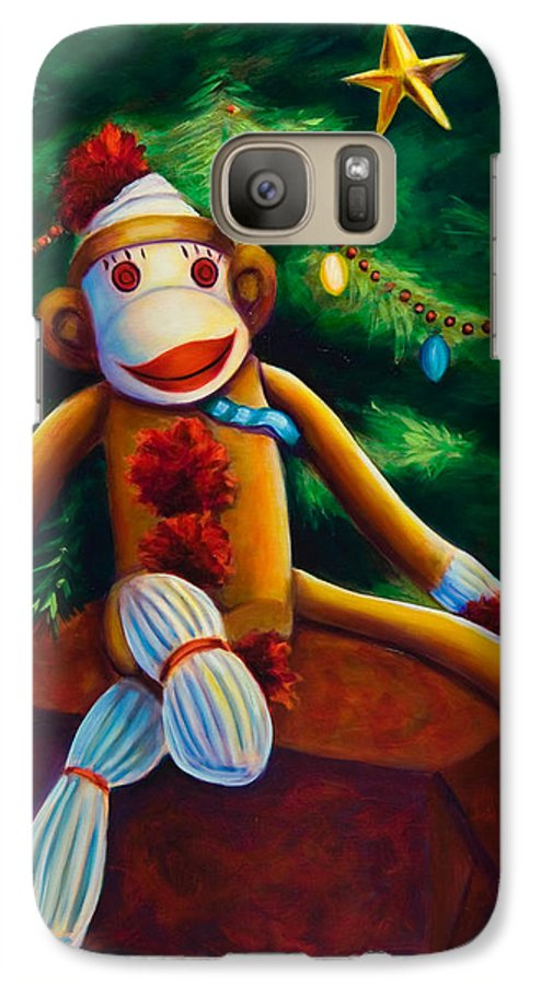 Sock Monkey Galaxy S7 Case featuring the painting Christmas Made Of Sockies by Shannon Grissom