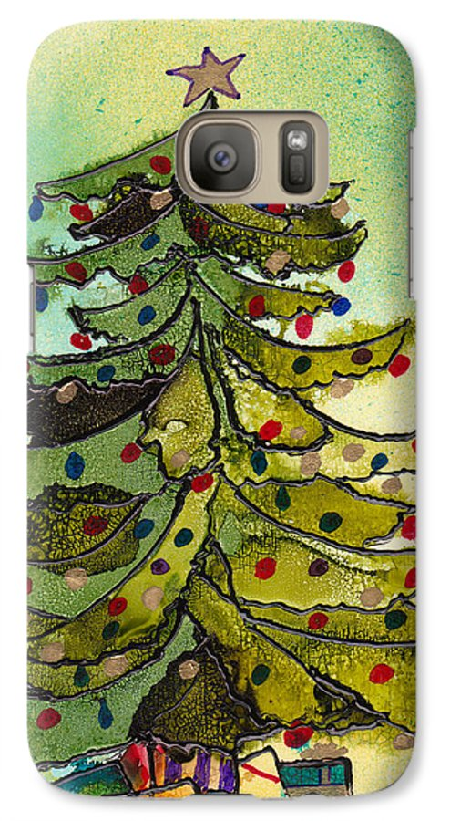 Christmas Galaxy S7 Case featuring the painting Christmas Morning 2008 by Susan Kubes