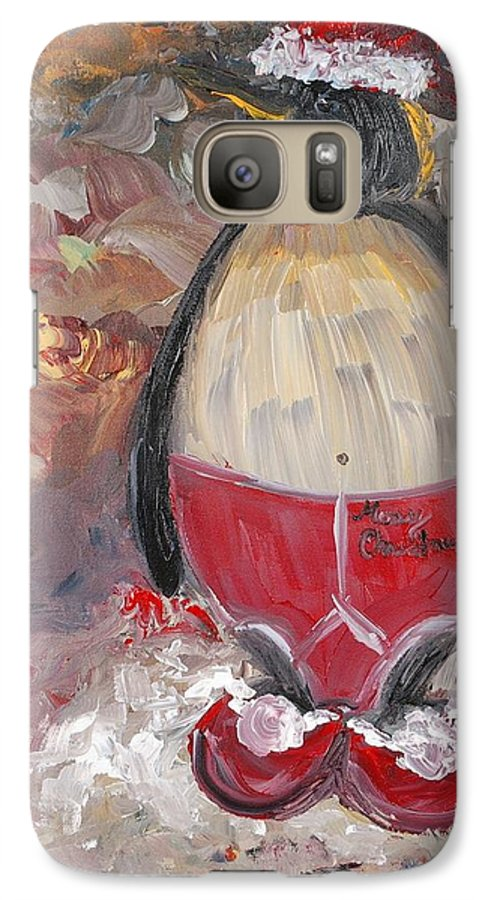 Penguin Galaxy S7 Case featuring the painting Christmas Penguin by Nadine Rippelmeyer