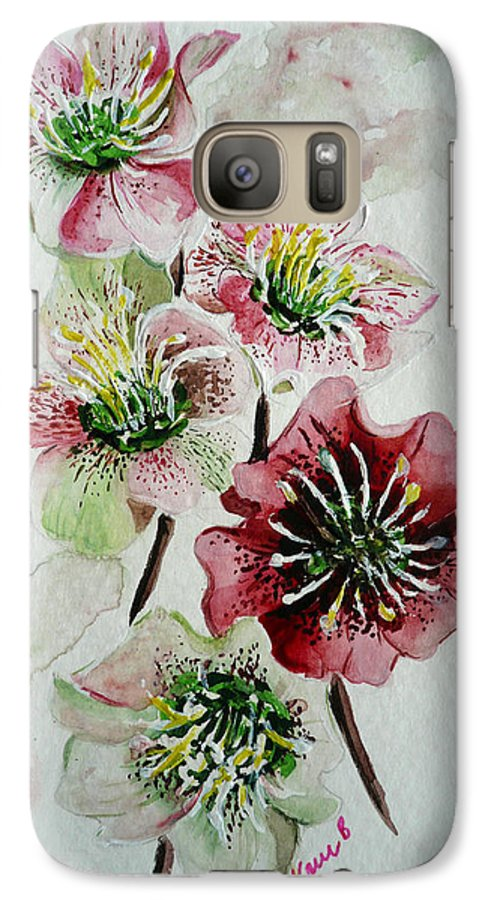 Floral Flower Pink Galaxy S7 Case featuring the painting Christmas Rose by Karin Dawn Kelshall- Best
