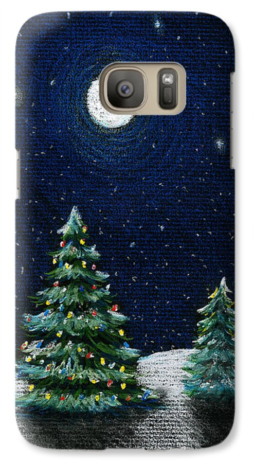 Christmas Trees Galaxy S7 Case featuring the drawing Christmas Trees In The Moonlight by Nancy Mueller