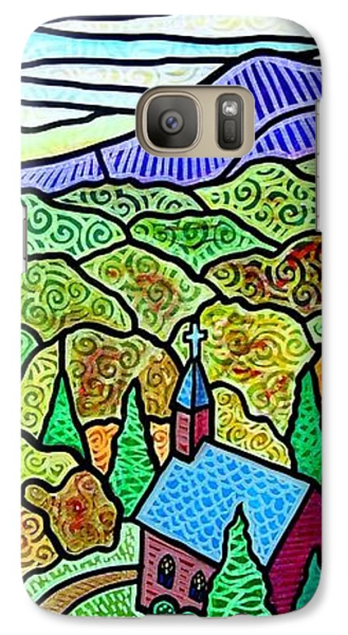 Church Galaxy S7 Case featuring the painting Church In The Wildwood by Jim Harris