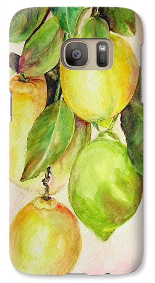 Still Life Galaxy S7 Case featuring the painting Citrons by Muriel Dolemieux