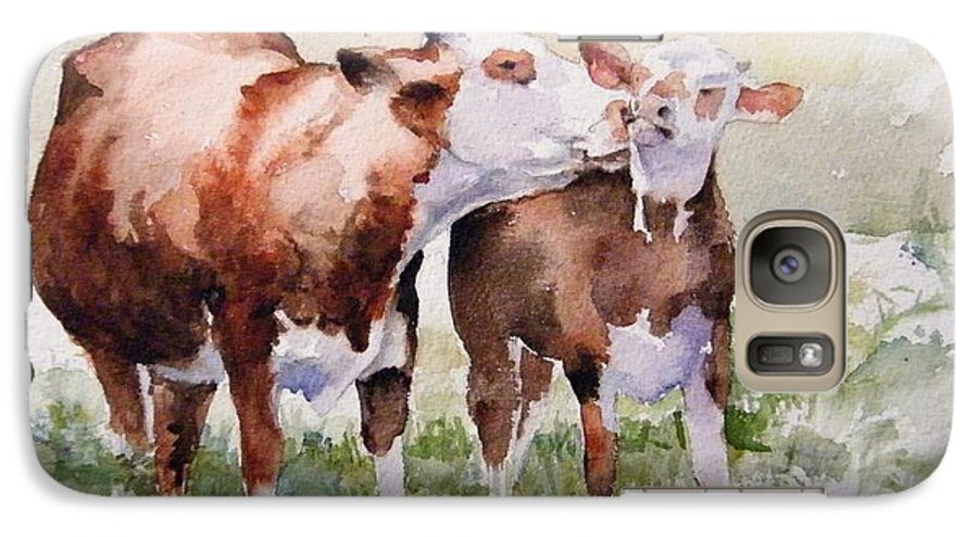 Cows Galaxy S7 Case featuring the painting Clean Behind The Ears by Debra Jones