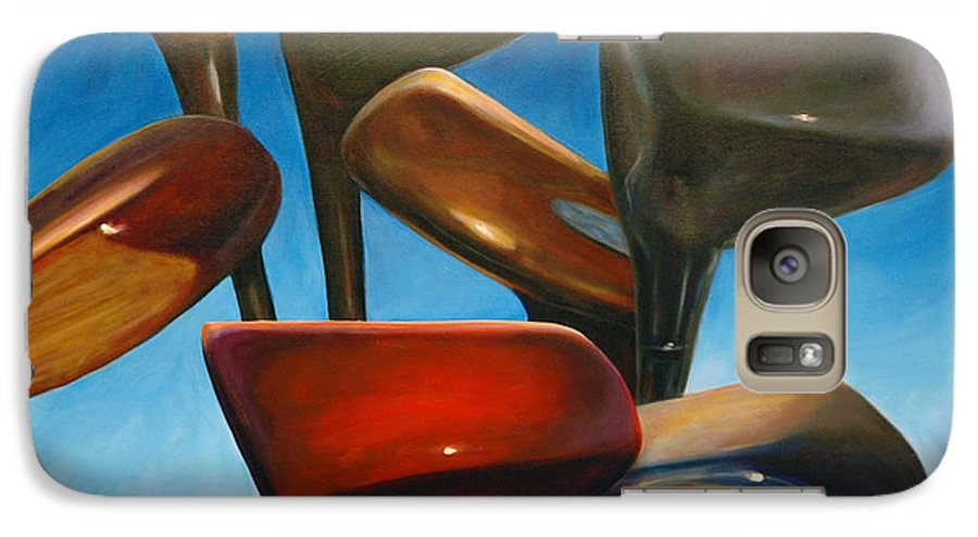 Golf Clubs Brown Galaxy S7 Case featuring the painting Clubs Rising by Shannon Grissom
