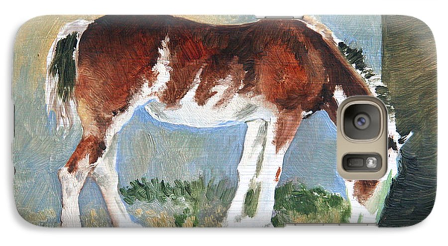 Horse Galaxy S7 Case featuring the painting Clydesdale Colt Pad by Eileen Hale