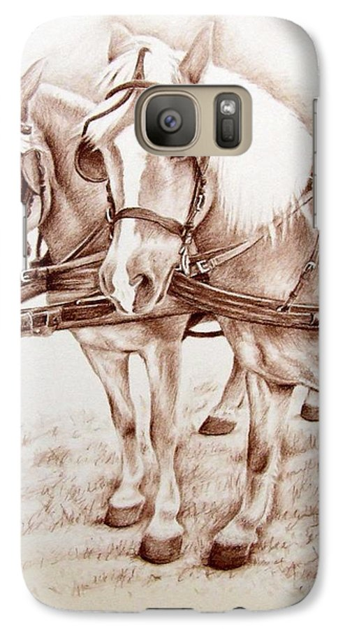 Horses Galaxy S7 Case featuring the drawing Coach Horses by Nicole Zeug