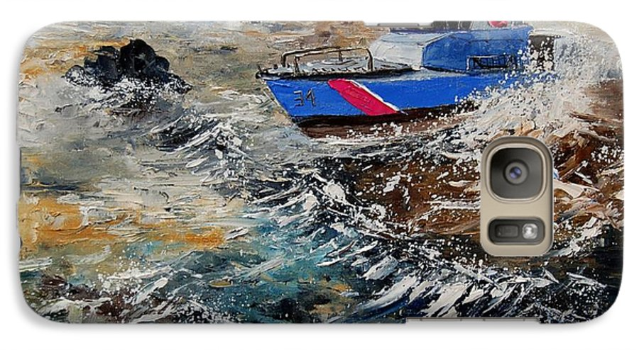 Sea Galaxy S7 Case featuring the painting Coastguards by Pol Ledent