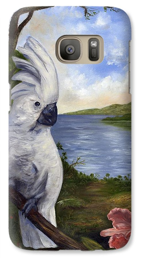 Landscape Galaxy S7 Case featuring the painting Cockatoo And Orchid by Anne Kushnick