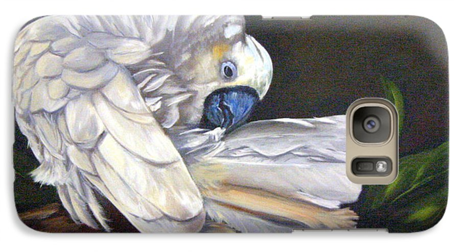 Birds Galaxy S7 Case featuring the painting Cockatoo Preening by Anne Kushnick