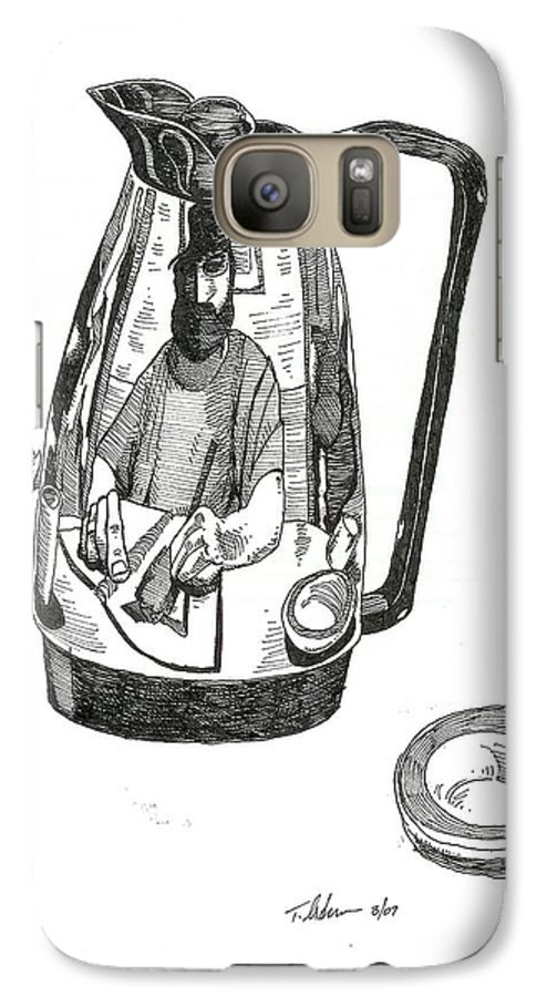 Pen And Ink Galaxy S7 Case featuring the drawing Coffee Pot by Tobey Anderson