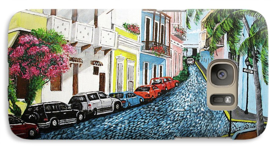 Old San Juan Galaxy S7 Case featuring the painting Colorful Old San Juan by Luis F Rodriguez
