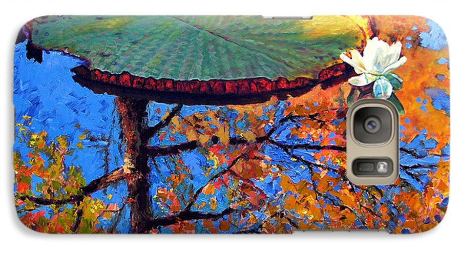 Fall Galaxy S7 Case featuring the painting Colors Of Fall On The Lily Pond by John Lautermilch