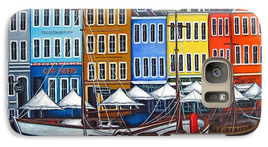 Nyhavn Galaxy S7 Case featuring the painting Colours Of Nyhavn by Lisa Lorenz