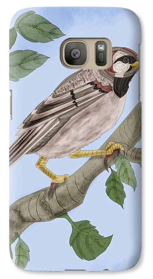 Sparrow Galaxy S7 Case featuring the painting Common House Sparrow by Anne Norskog