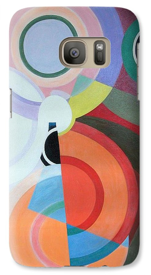 Abstract Galaxy S7 Case featuring the painting Complement by Muriel Dolemieux