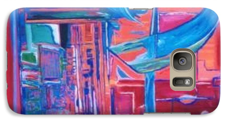Red Galaxy S7 Case featuring the painting Composicion Azul by Michael Puya