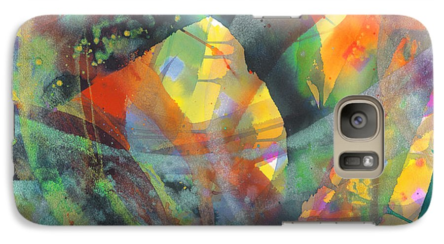 Abstract Galaxy S7 Case featuring the painting Connections by Lucy Arnold