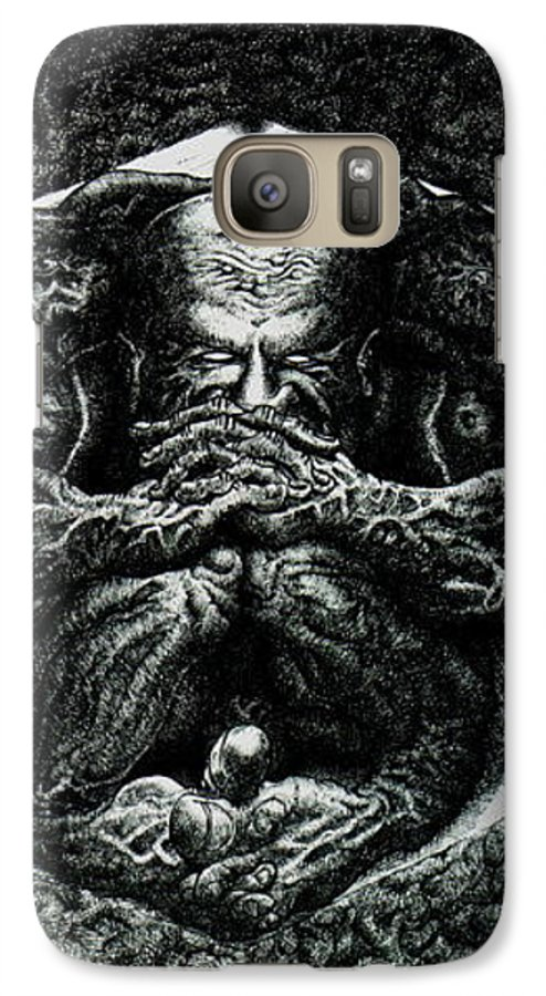 Dark Galaxy S7 Case featuring the drawing Contemplation by Tobey Anderson