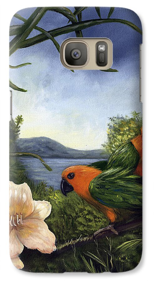 Landscape Galaxy S7 Case featuring the painting Conures by Anne Kushnick