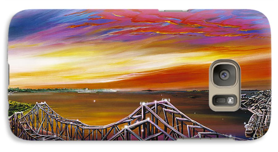 Clouds Galaxy S7 Case featuring the painting Cooper River Bridge by James Christopher Hill