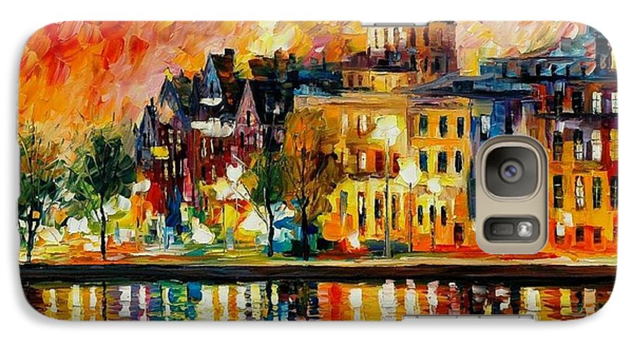 City Galaxy S7 Case featuring the painting Copenhagen Original Oil Painting by Leonid Afremov