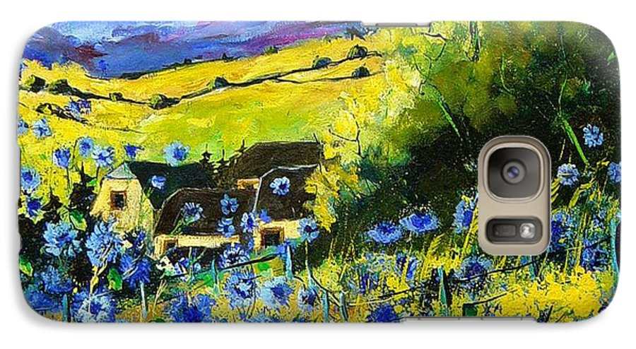 Flowers Galaxy S7 Case featuring the painting Cornflowers In Ver by Pol Ledent