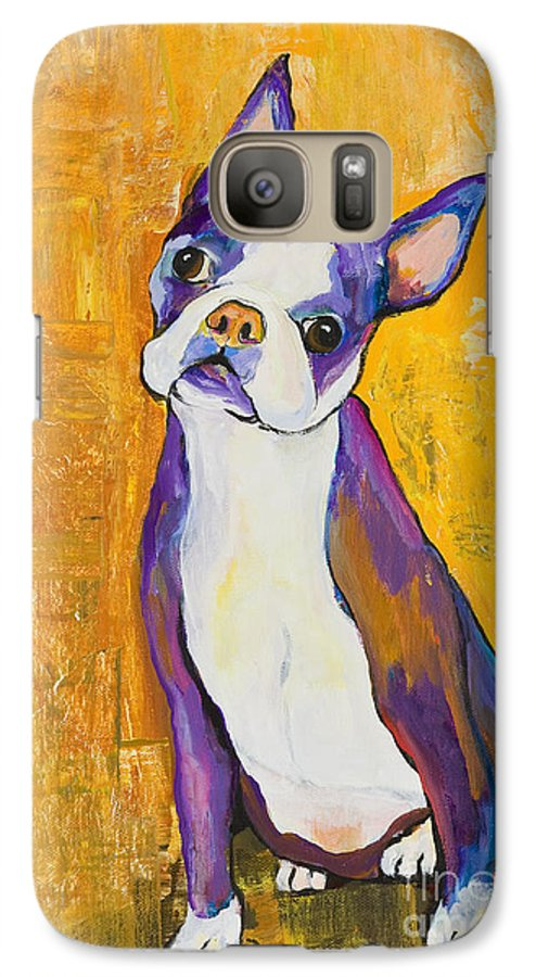 Boston Terrier Animals Acrylic Dog Portraits Pet Portraits Animal Portraits Pat Saunders-white Galaxy S7 Case featuring the painting Cosmo by Pat Saunders-White