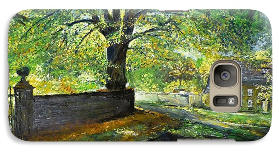 Landscape Galaxy S7 Case featuring the painting Cotswold Lane by Lizzy Forrester