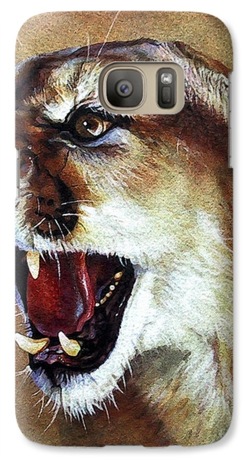 Southwest Art Galaxy S7 Case featuring the painting Cougar by J W Baker