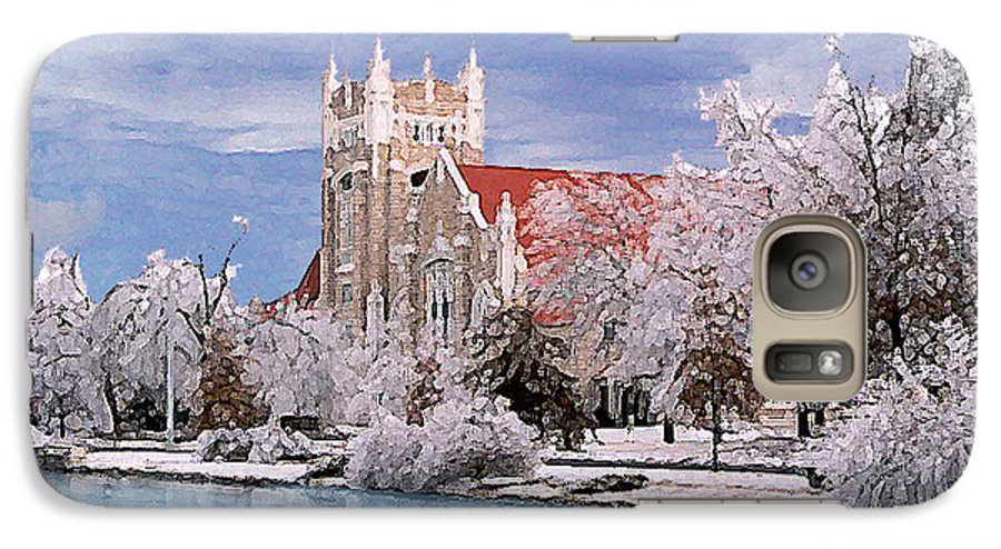 Winter Galaxy S7 Case featuring the photograph Country Club Christian Church by Steve Karol
