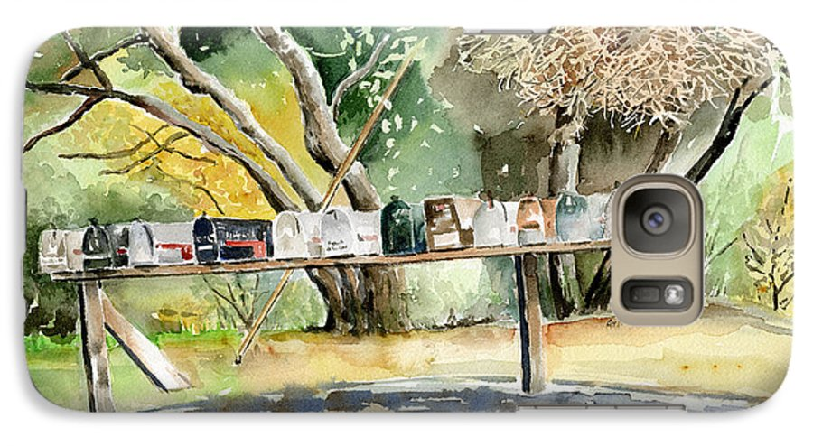 Mailboxes Galaxy S7 Case featuring the painting Country Mailboxes by Arline Wagner