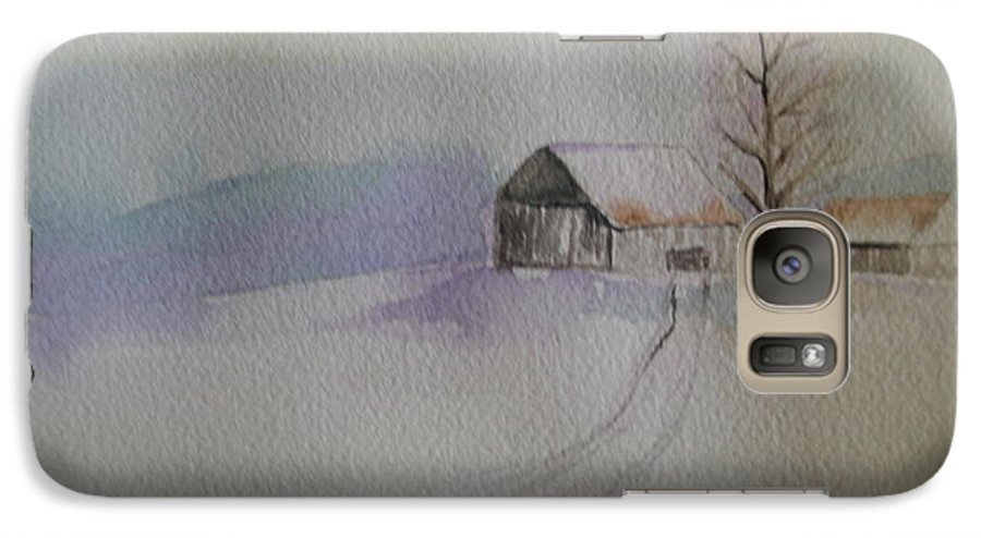 Barn Snow Winter Tree Landscape Cold Galaxy S7 Case featuring the painting Country Snow by Patricia Caldwell