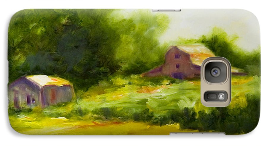 Landscape In Green Galaxy S7 Case featuring the painting Courage by Shannon Grissom