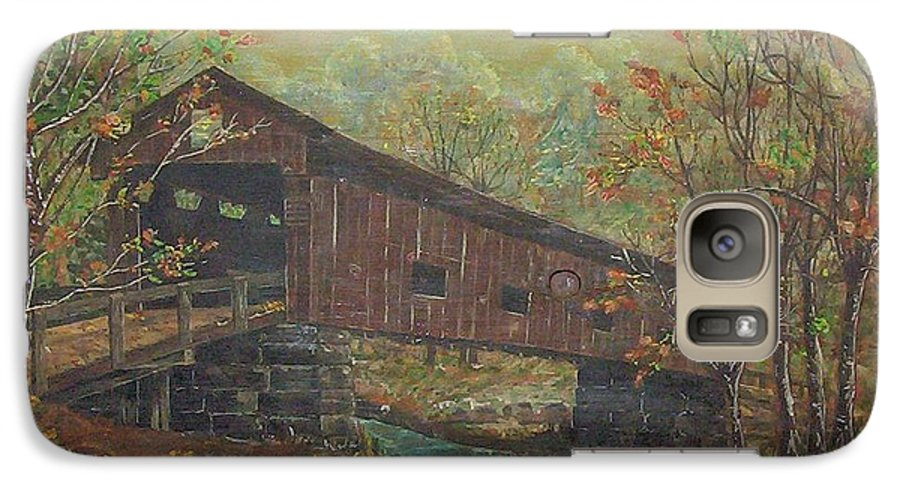 Bridge Galaxy S7 Case featuring the painting Covered Bridge by Phyllis Mae Richardson Fisher