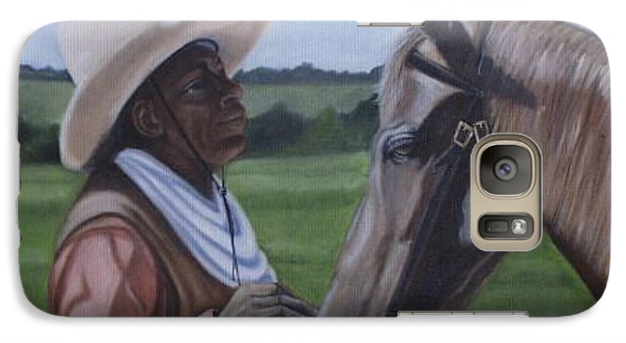 Portrait Galaxy S7 Case featuring the painting Cowboy2 by Toni Berry