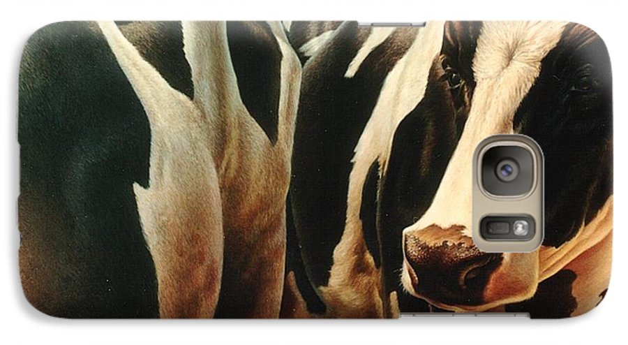 Cows Galaxy S7 Case featuring the painting Cows 1 by Hans Droog