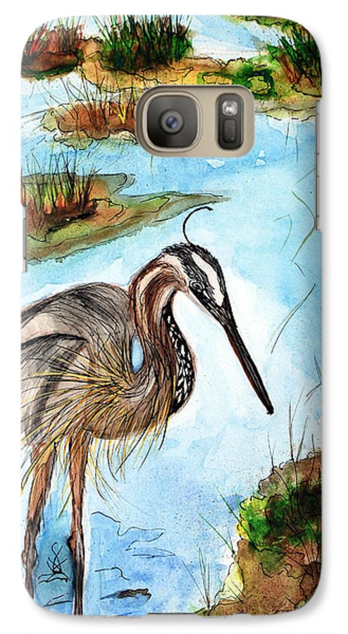 Birds Galaxy S7 Case featuring the painting Crane In Florida Swamp by Margaret Fortunato