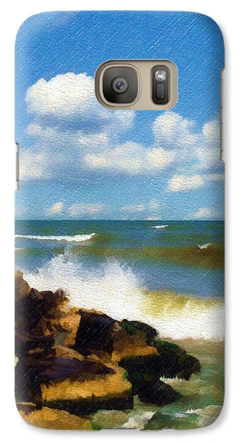 Seascape Galaxy S7 Case featuring the photograph Crashing Into Shore by Sandy MacGowan