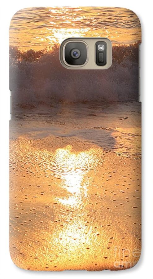 Waves Galaxy S7 Case featuring the photograph Crashing Wave At Sunrise by Nadine Rippelmeyer