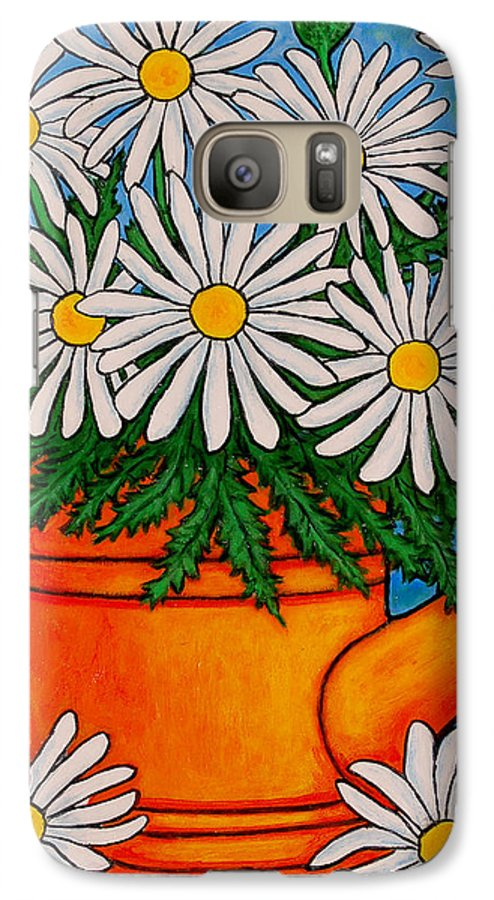 Daisies Galaxy S7 Case featuring the painting Crazy For Daisies by Lisa Lorenz