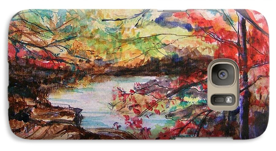 Creek Galaxy S7 Case featuring the painting Creek Blue Ridge Mountains by Lizzy Forrester