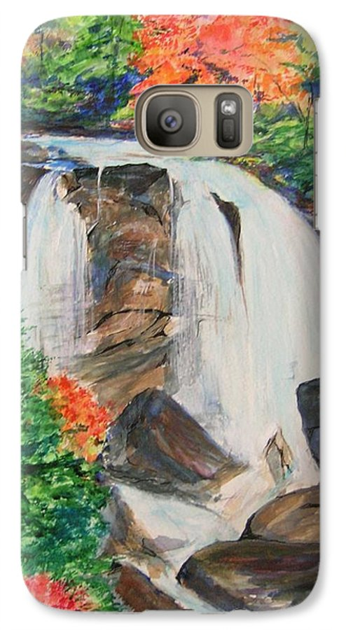Creek Galaxy S7 Case featuring the painting Creek In Autumn by Lizzy Forrester