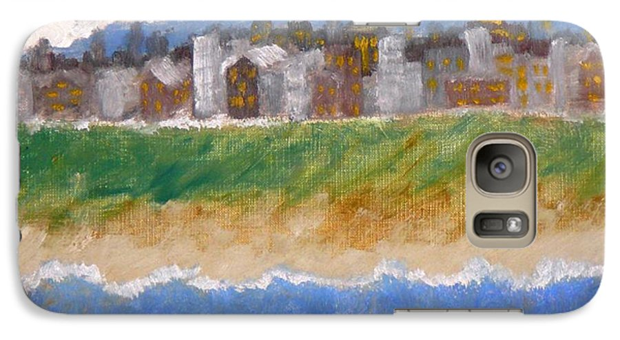 Seascape Galaxy S7 Case featuring the painting Crowded Beaches by R B